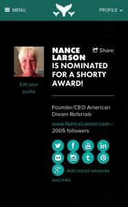 Nance Larson Nominated For Shorty Award